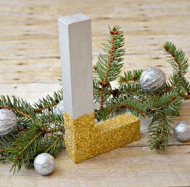 Metallic Glittered Monogram for the Holidays