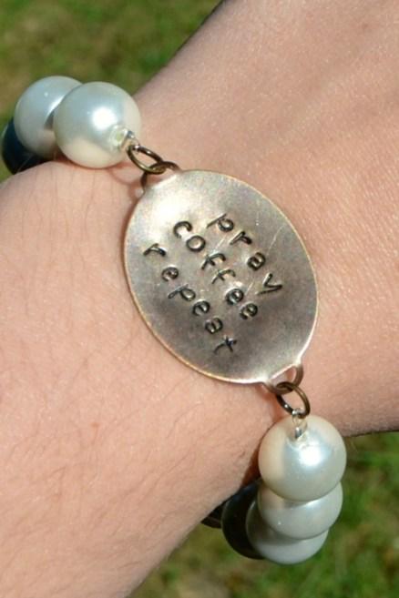 Metal Stamped Pearl Bracelet