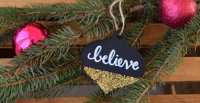 Chalkboard and Glitter Ornament