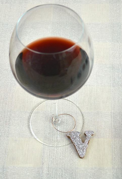 Glitter Monogram Wine Charms