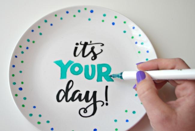 Hand Lettered Dessert Plate