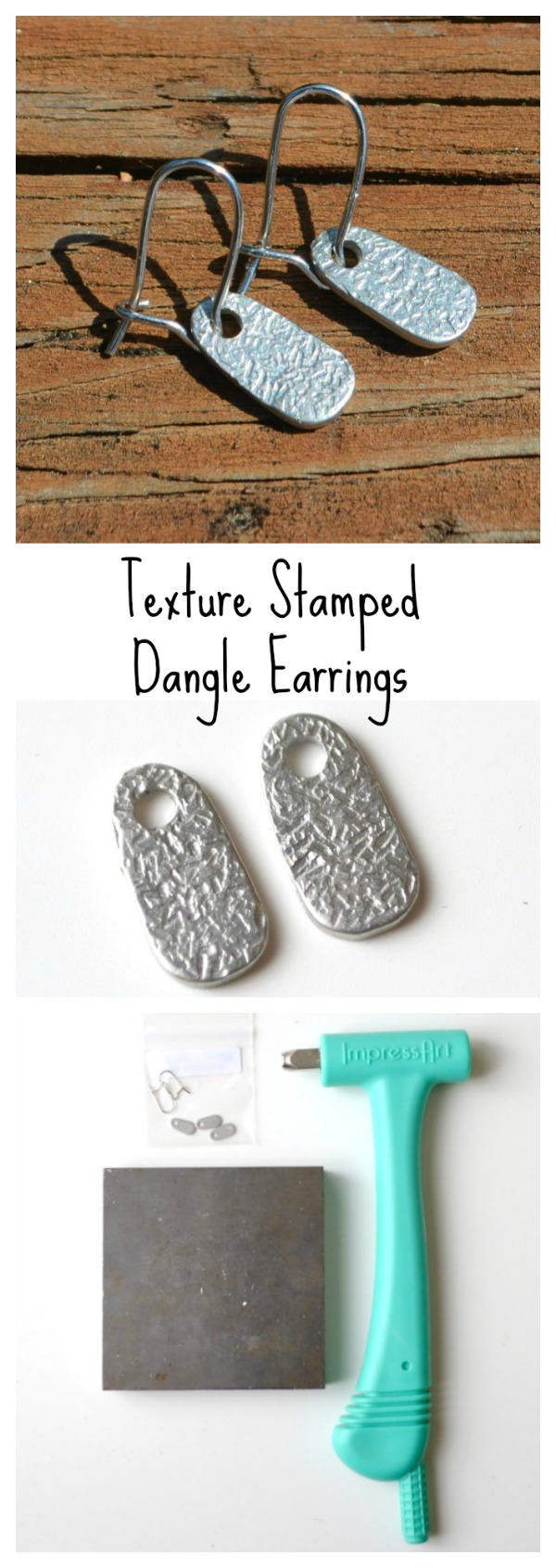 Texture Stamped Dangle Earrings with ImpressArt