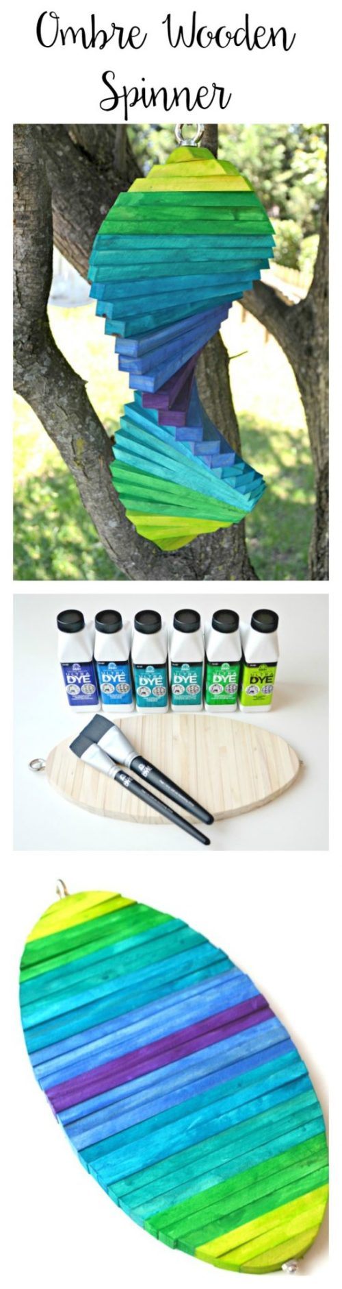 Ombre Wooden Spinner with FolkArt Ultra Dye