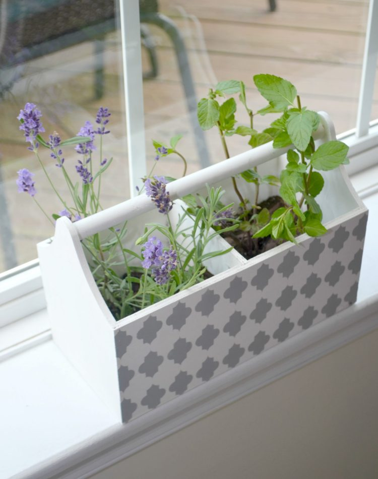 Stenciled Herb Window Box