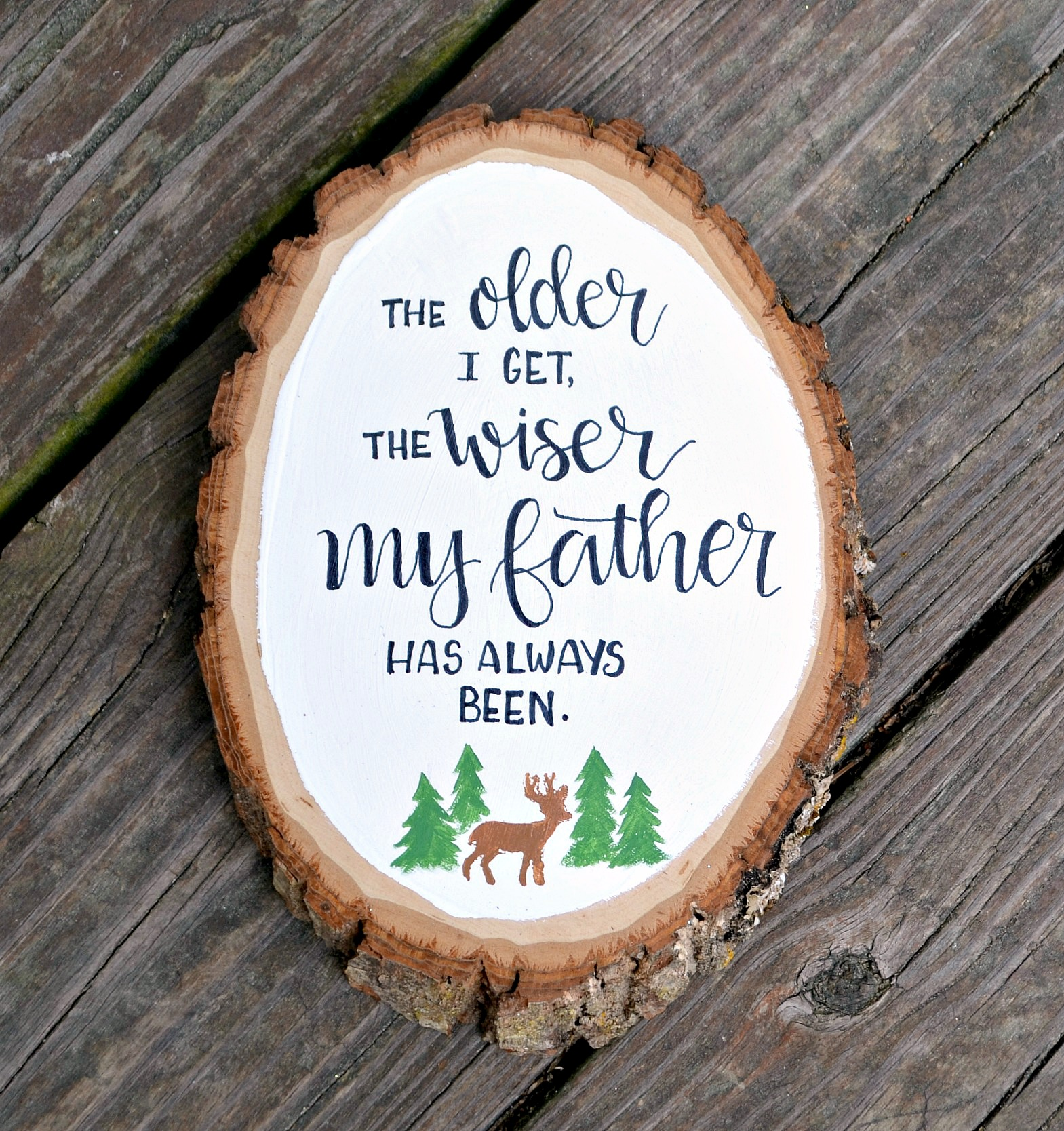 Father's Day Older and Wiser Hand Lettered Plaque