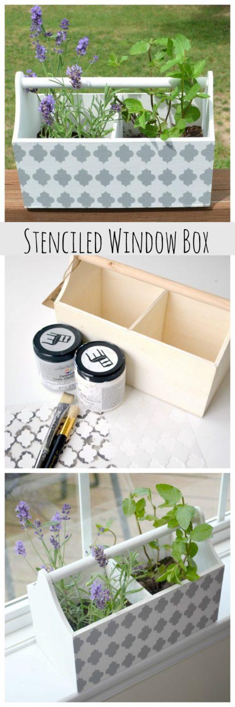 Stenciled Window Box Herb Planter