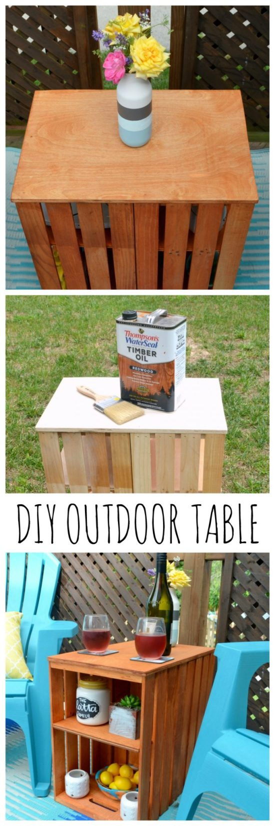 DIY Stained Outdoor Crate Table