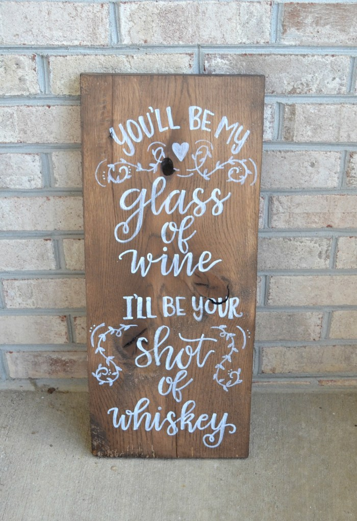 Rustic Hand Lettered Wedding Sign: Wine & Whiskey