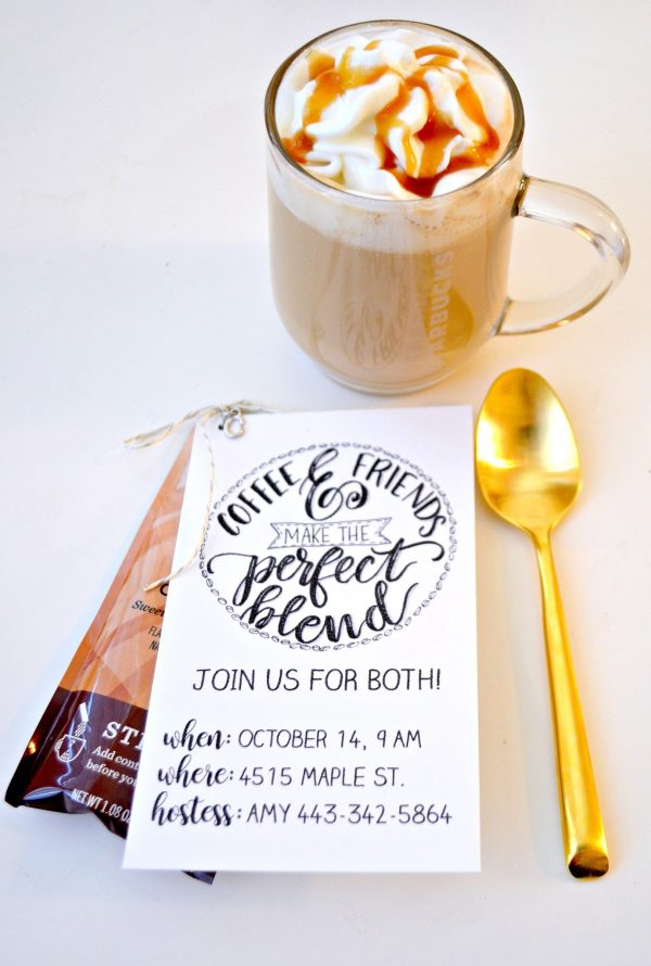 Hand Lettered Coffee Date Invitation with Starbucks Caffe Latte K-Cup Pods