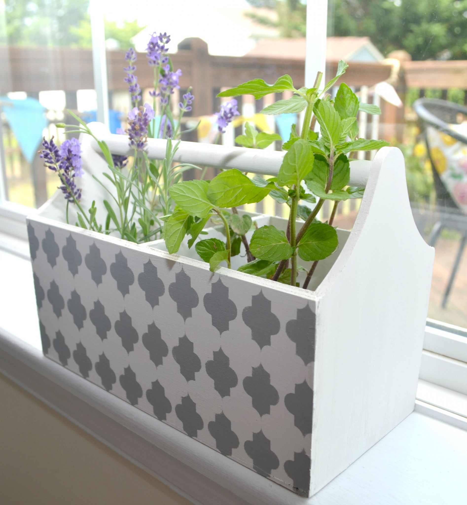 Stenciled Planter for Herbs
