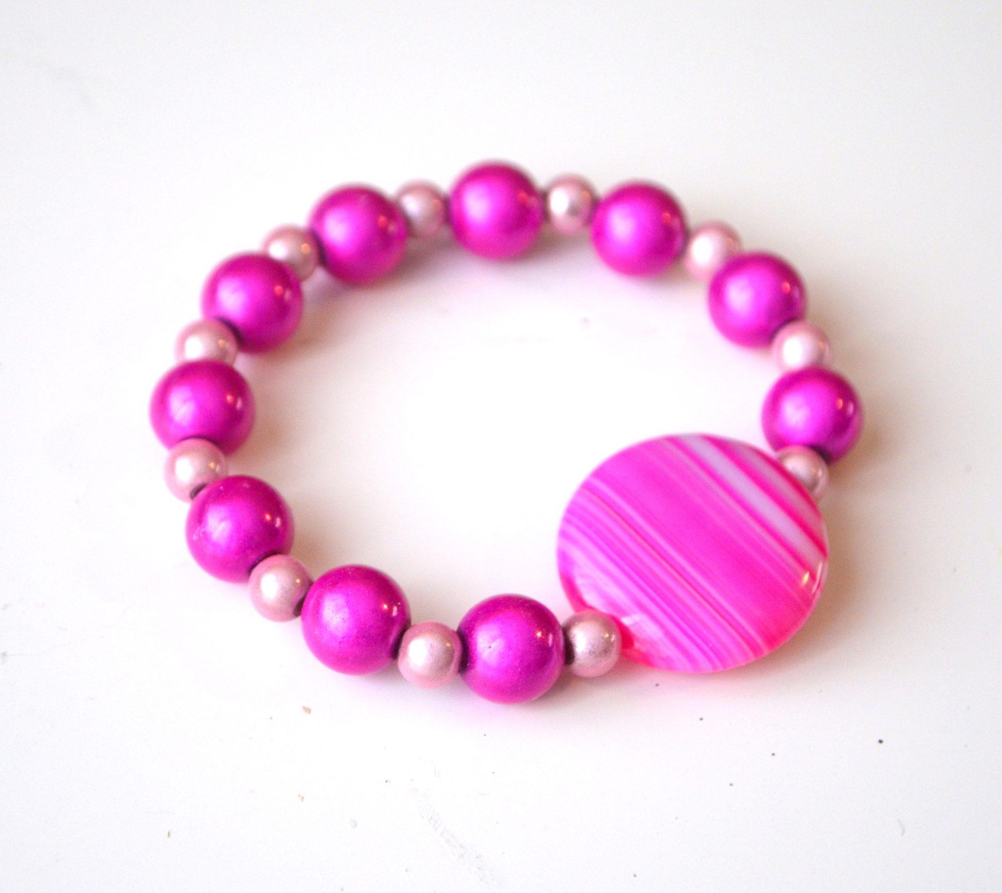 Pink Beaded Bracelet