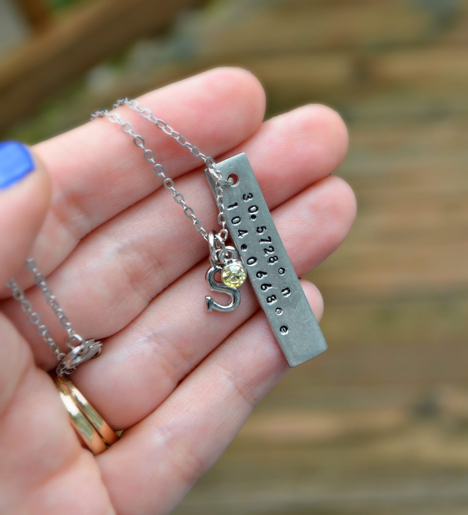 GPS Coordinates Necklace with Metal Stamping
