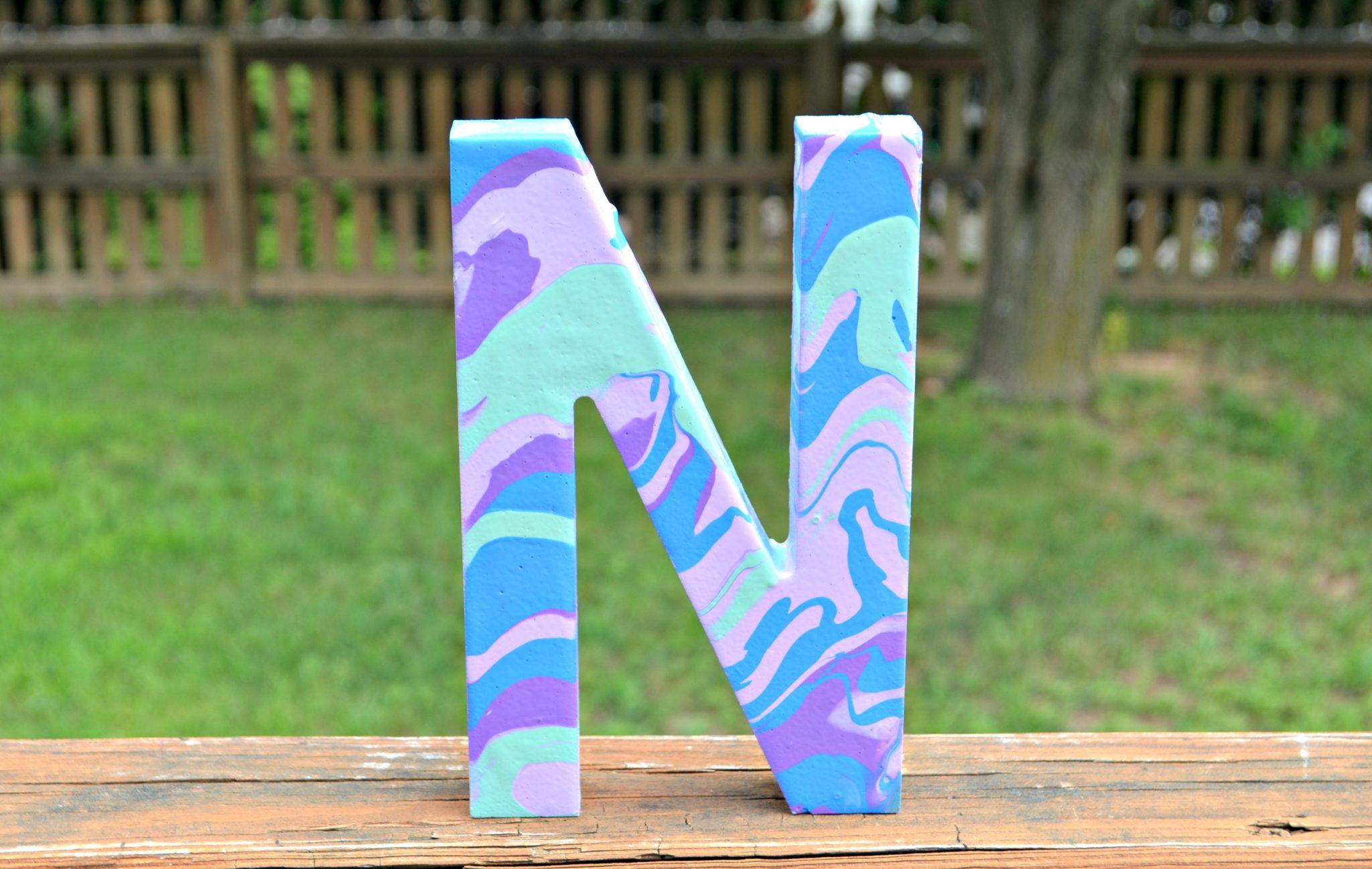 Marbled Monogram with Martha Stewart Marbling Medium