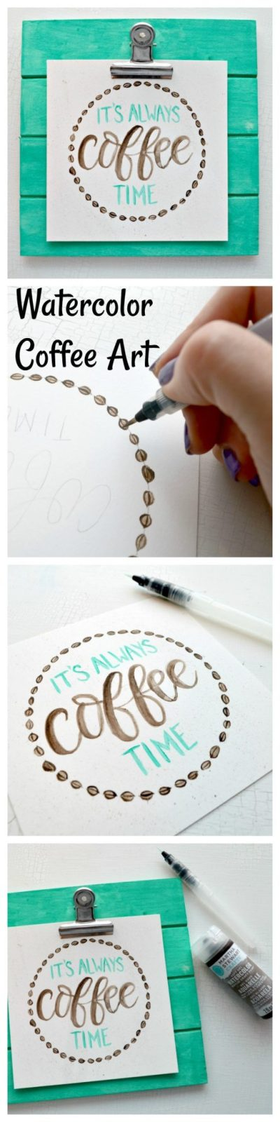 Hand Lettered Coffee Art with Watercolor Paints