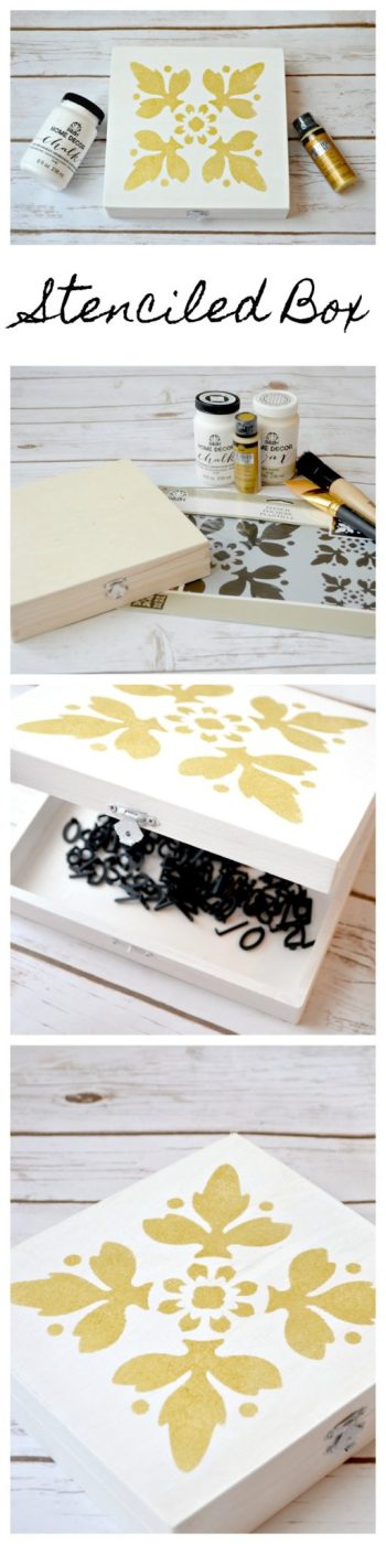 White & Gold Stenciled Box