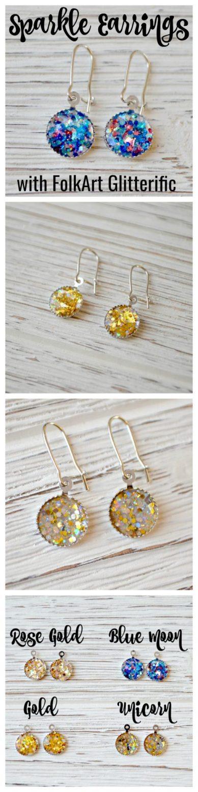 Sparkle Earrings with FolkArt Glitterific