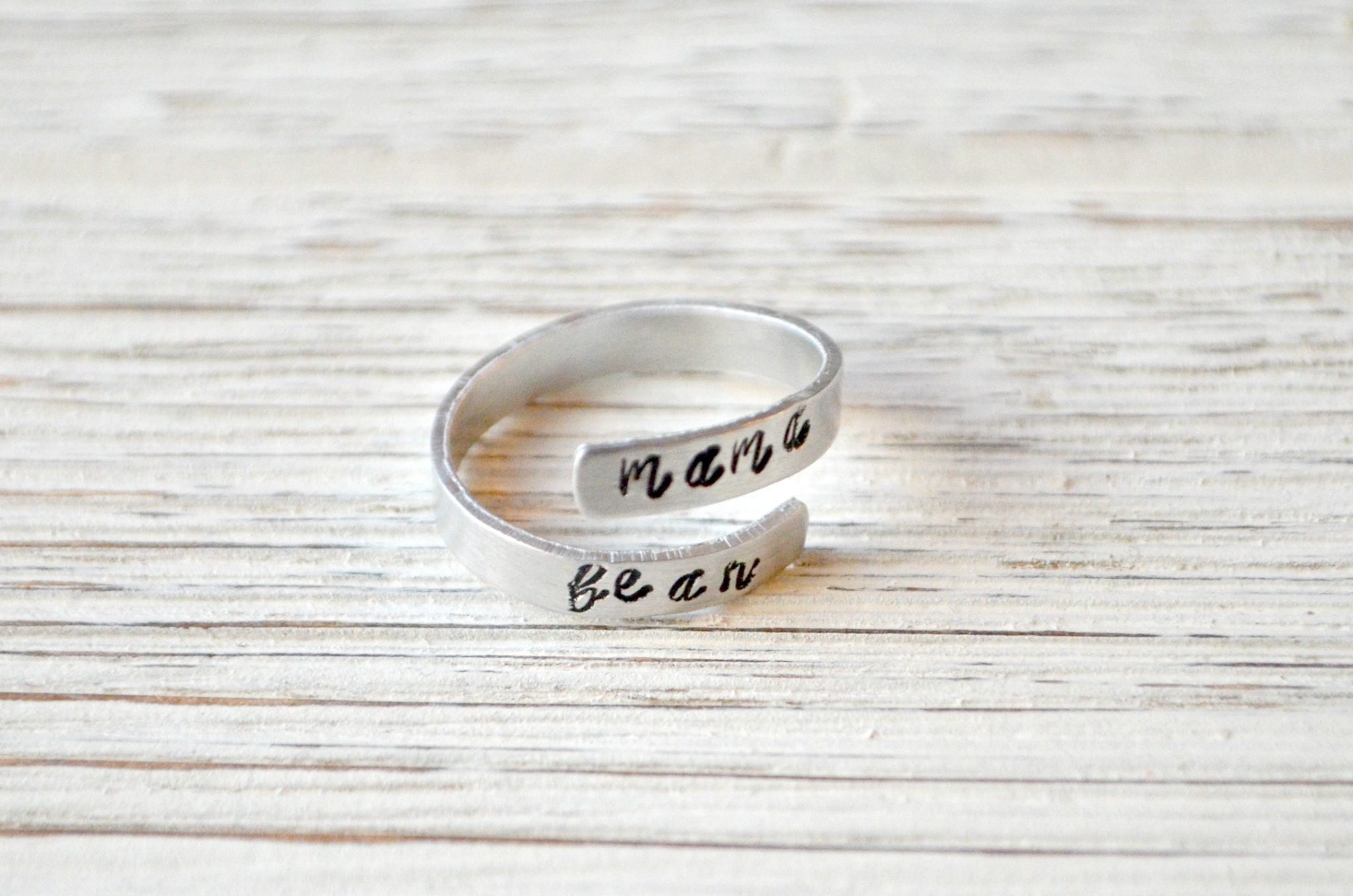 Hand Stamped Mama Bear Wrap Ring