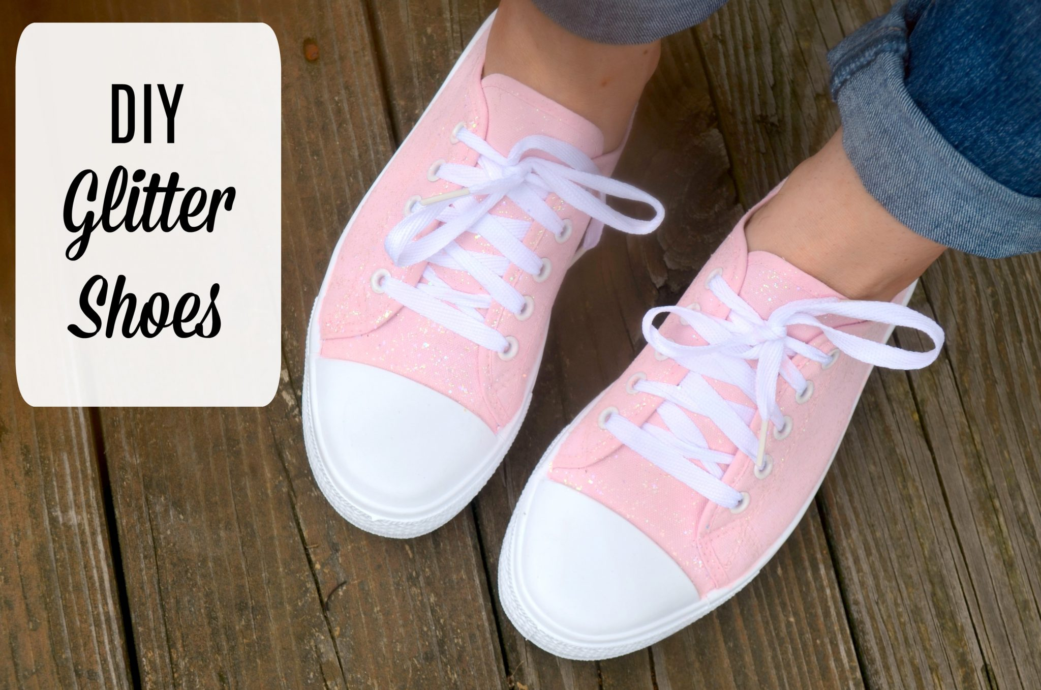 DIY Glitter Sneakers with Fabric