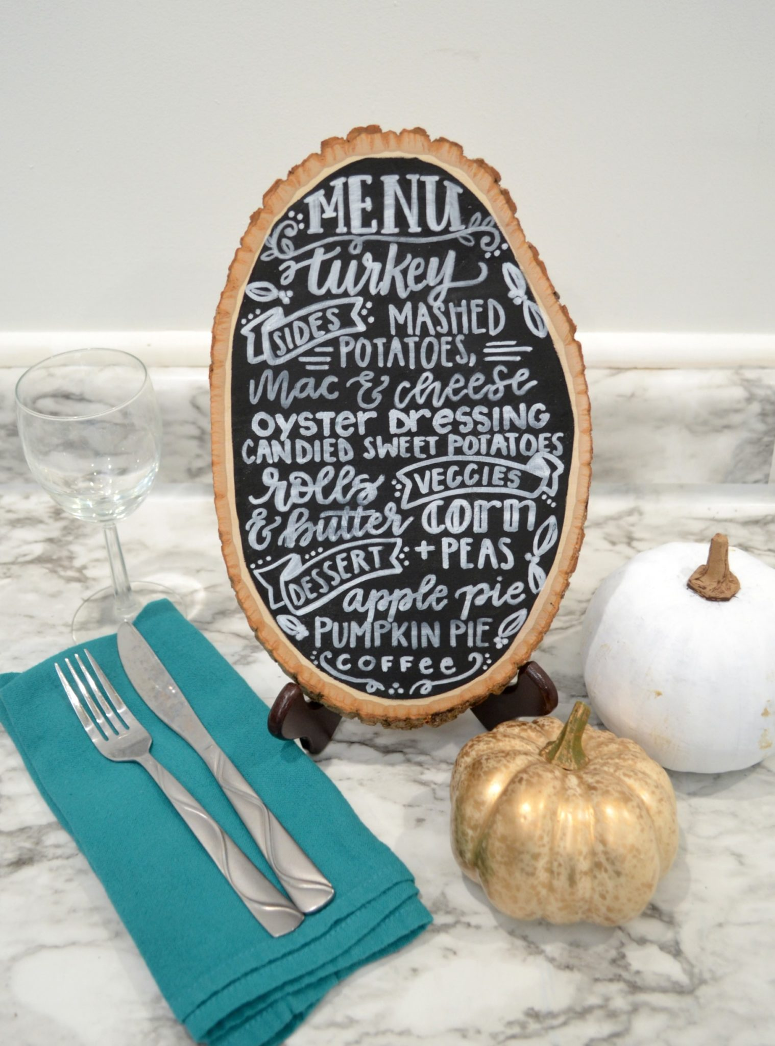 Hand Lettered Thanksgiving Menu Board