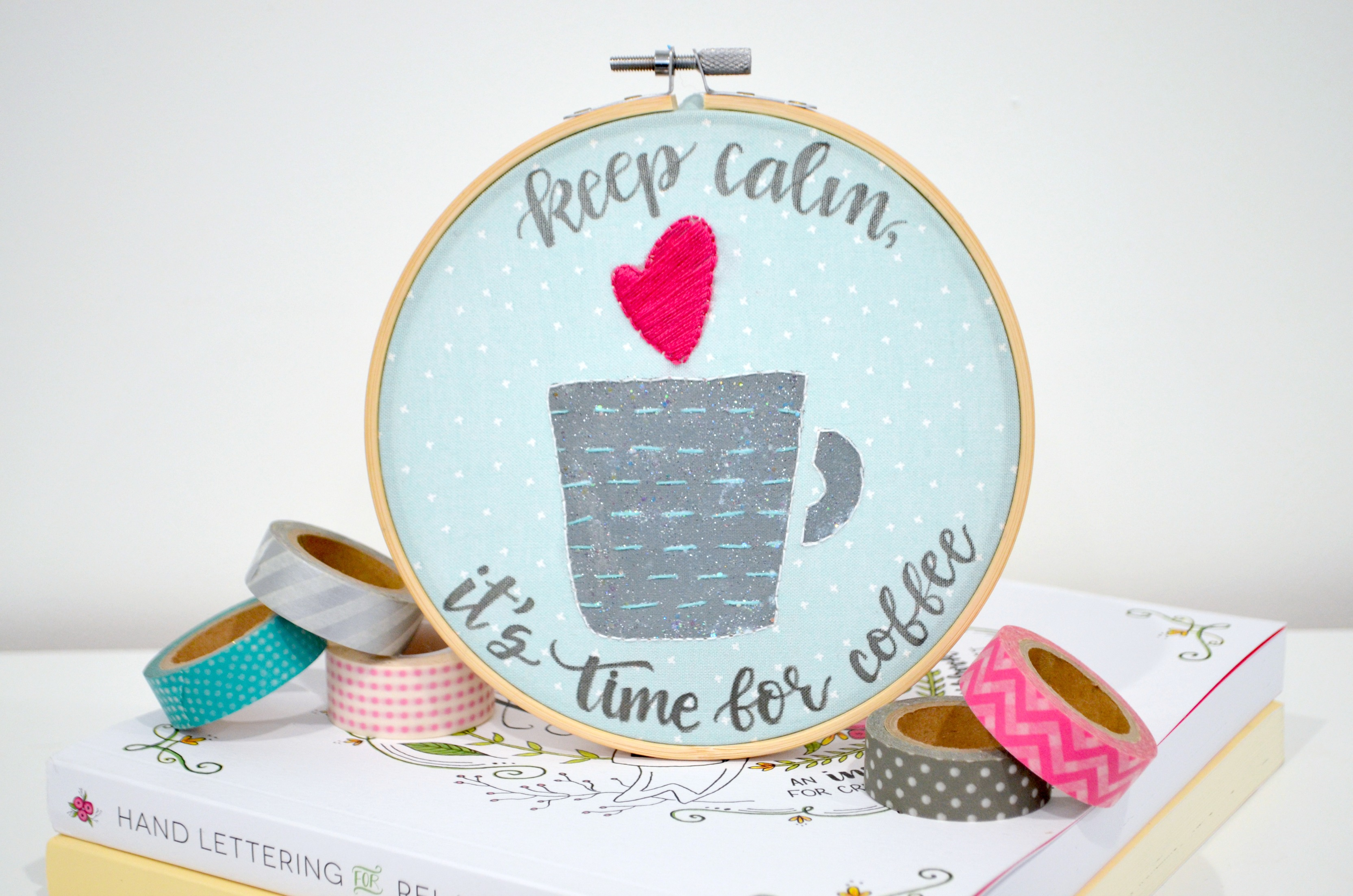Coffee Embroidery Hoop Design