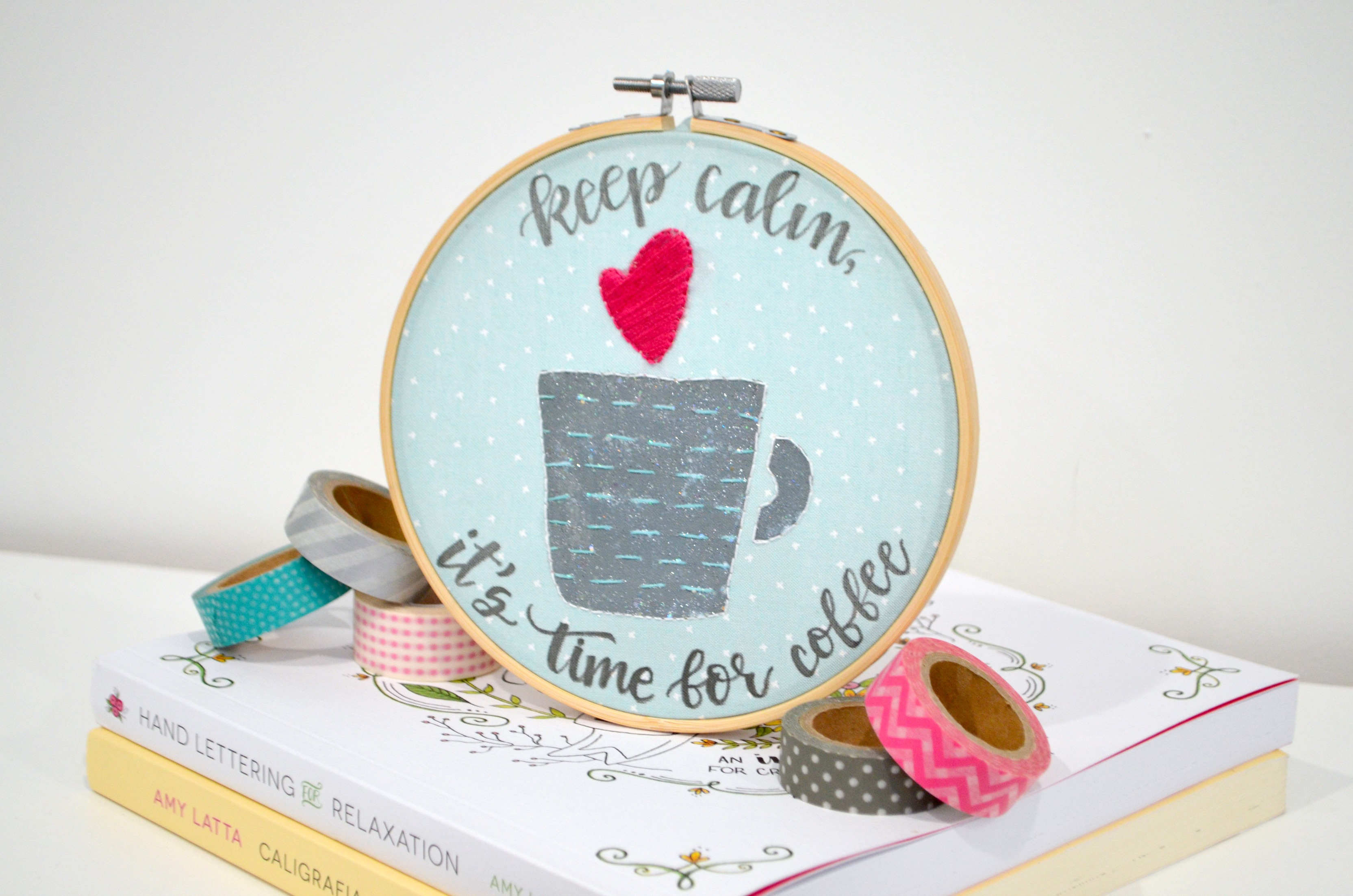 Stenciled Coffee Embroidery Hoop