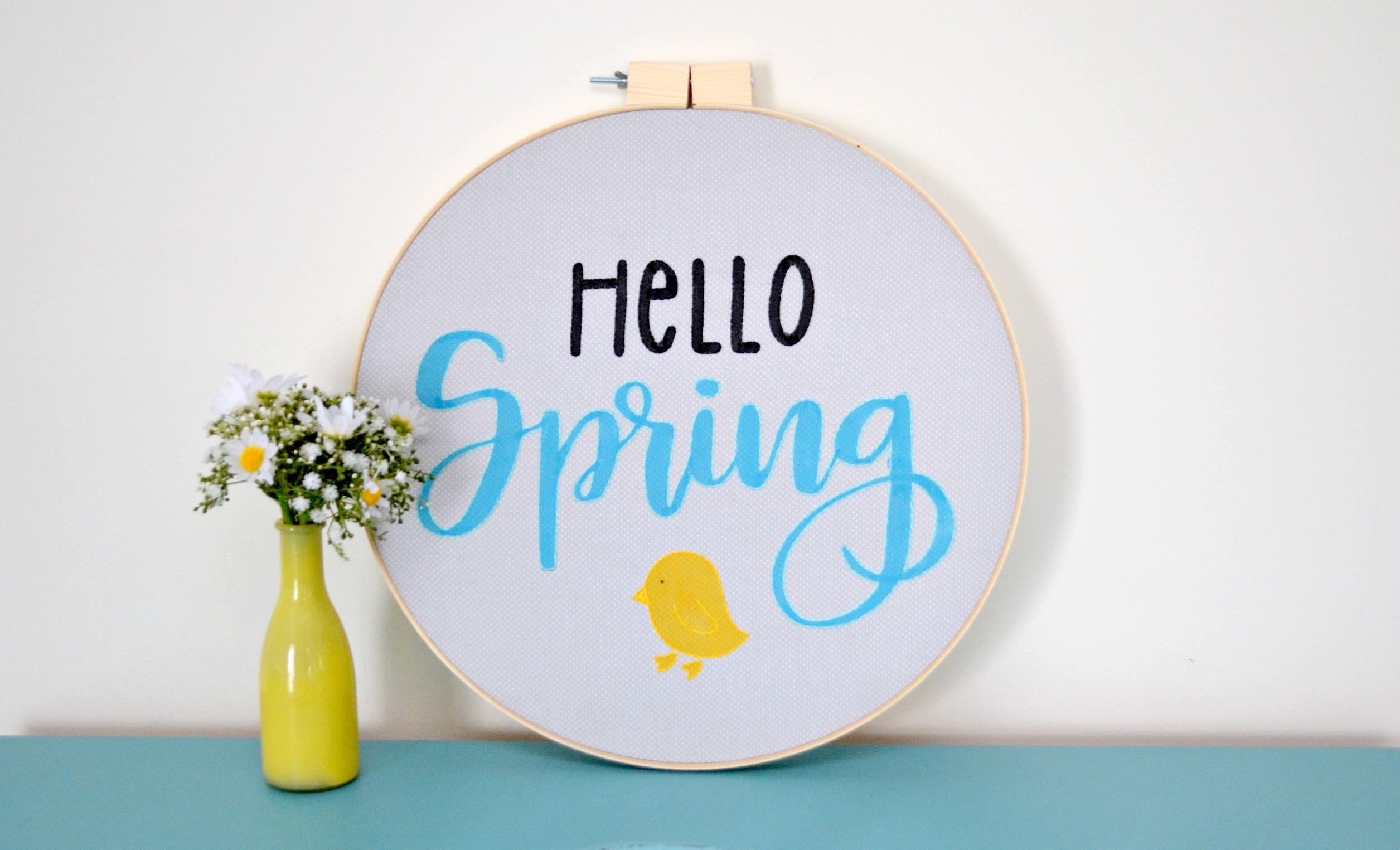 Hello Spring Embroidery Hoop Art