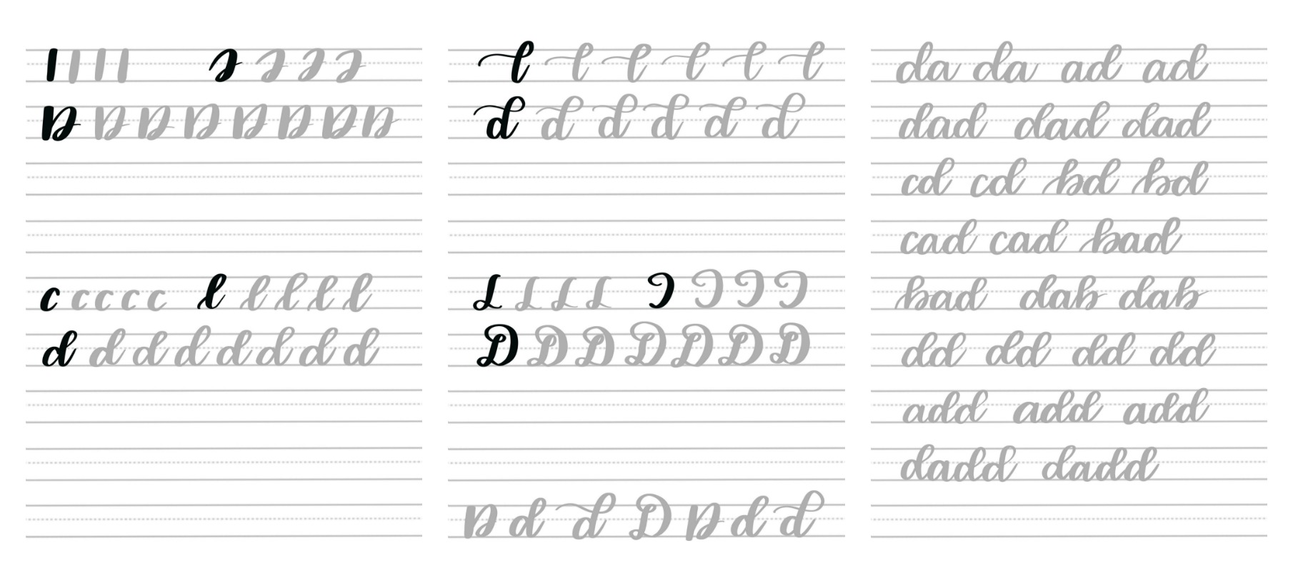 Brush Script D Practice Sheets