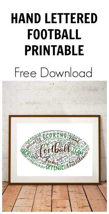 Hand Lettered Football Printable
