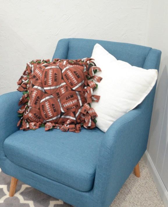Football Fleece Tie Pillows