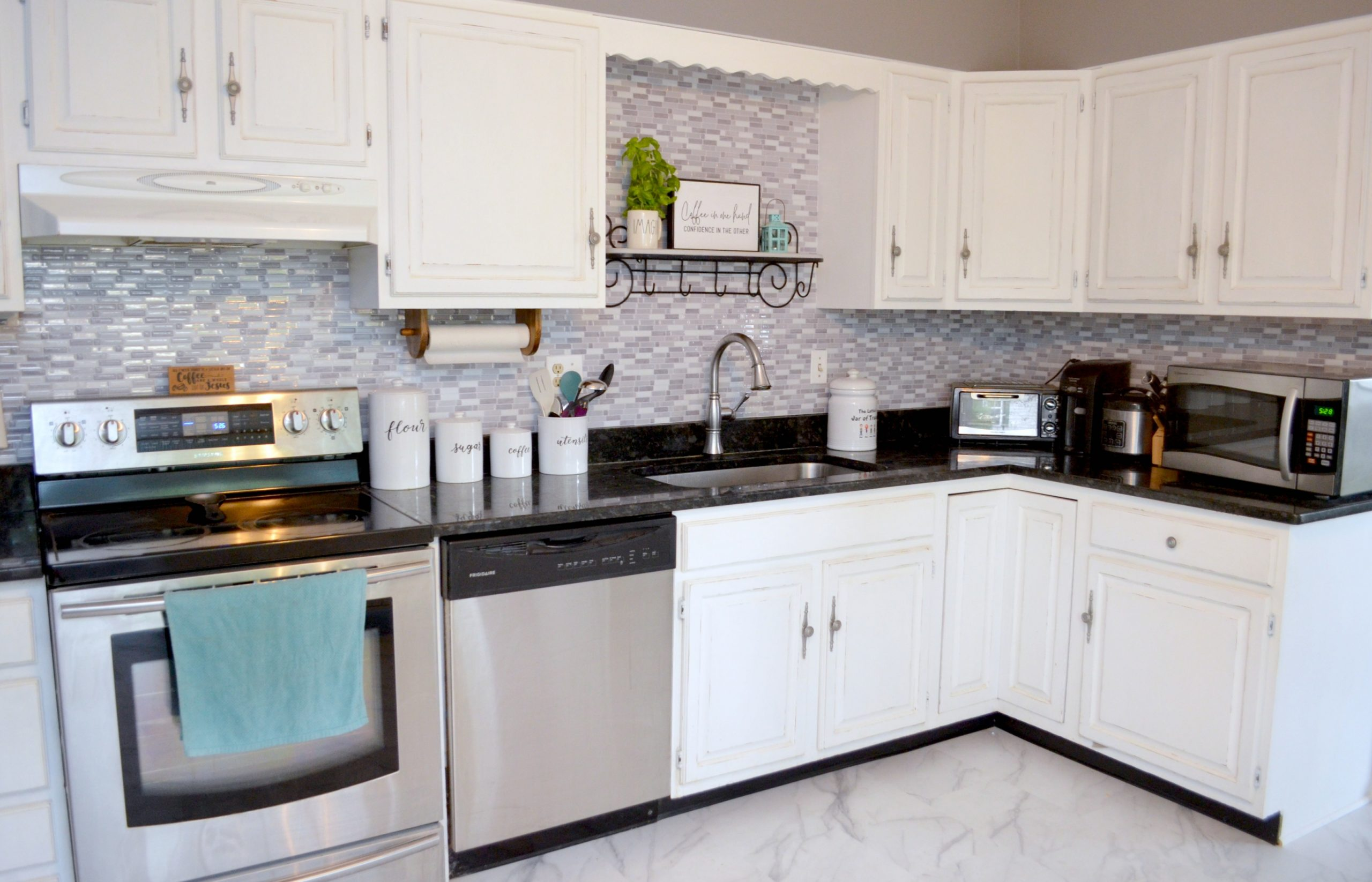DIY Peel & Stick Kitchen Backsplash - Amy Latta Creations