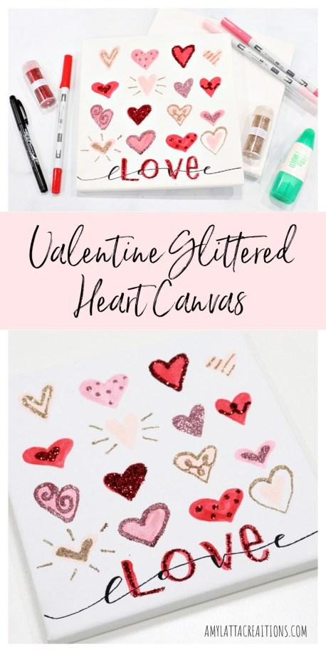 Valentine Glittered Heart Canvas