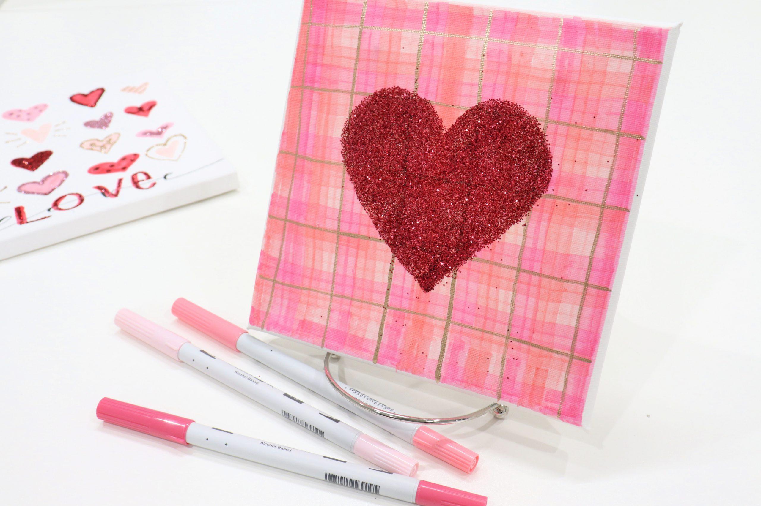 Plaid & Glitter Heart Canvas