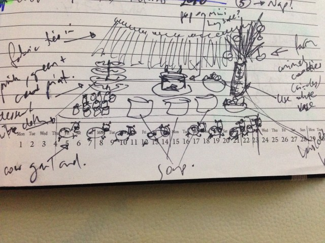 Quick sketch showing party table with fabric banner across the back, a cow cake in the back centre of the table, branches in a vase to the back right, cow images across the front of the table in a garland, and a variety of food on the table.