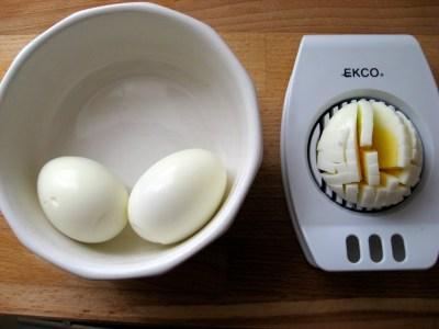 chopped egg with an egg slicer