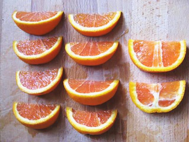 Flat lay of oranges