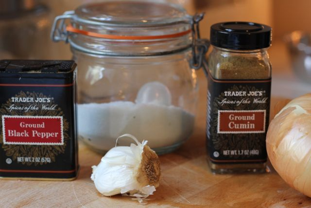 onion, garlic, cumin, salt and pepper
