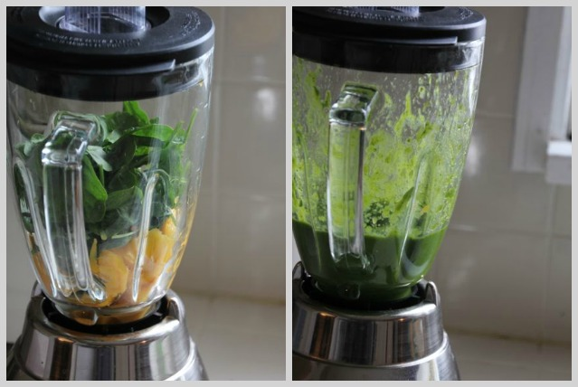 Blending mango and spinach