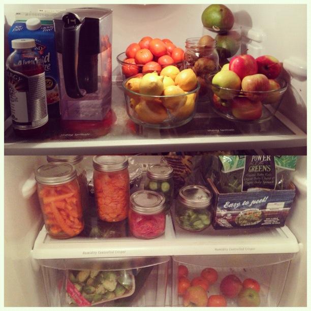 Mason Jars in refrigerator