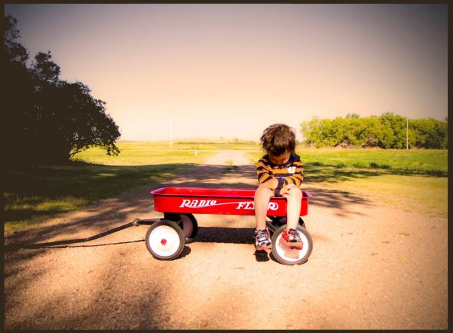 Elayne Woods photography boy and his red wagon