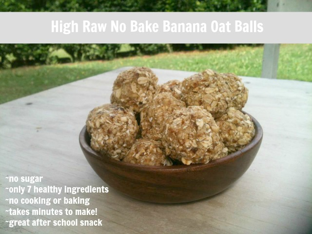 No sugar no bake high raw oatmeal banana bites