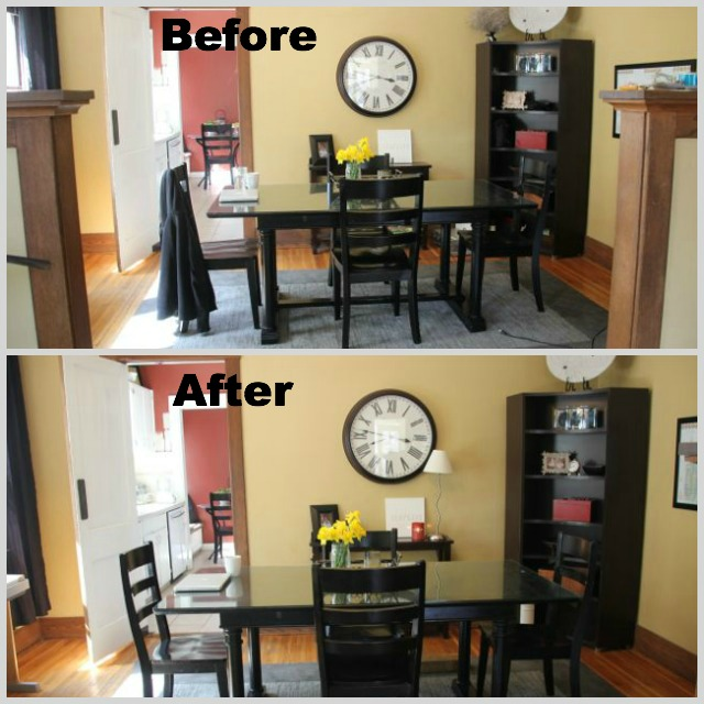 Before and after minimalizing dining room