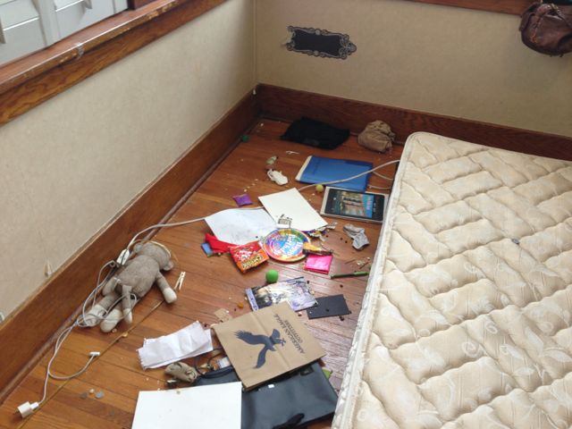 Trash under bed