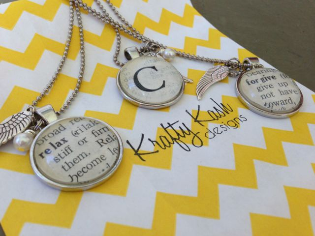 Pendant necklaces by a yellow chevron design