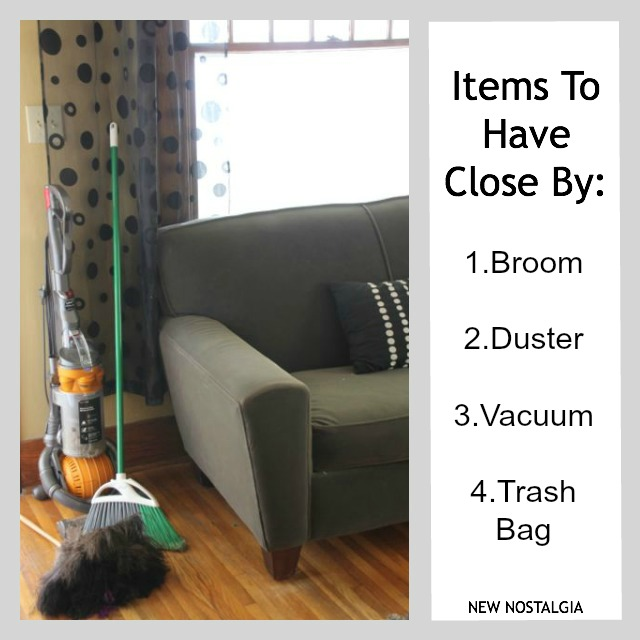Broom, duster, vacuum, and trash bag .