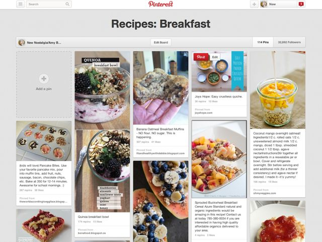 New Nostalgia Pinterest board for healthy breakfast