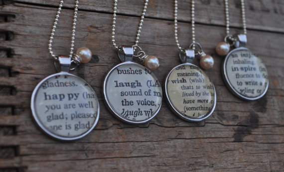 Four personalized vintage dictionary word pendant necklaces