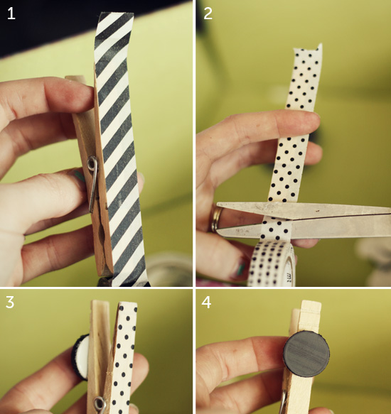 Washi tape on clothespin