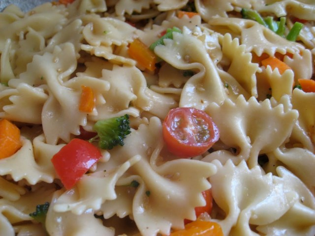 Italian pasta salad with vegetables.