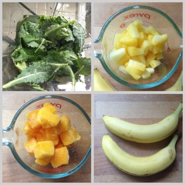 Banana, mango, pineapple and kale for smoothie