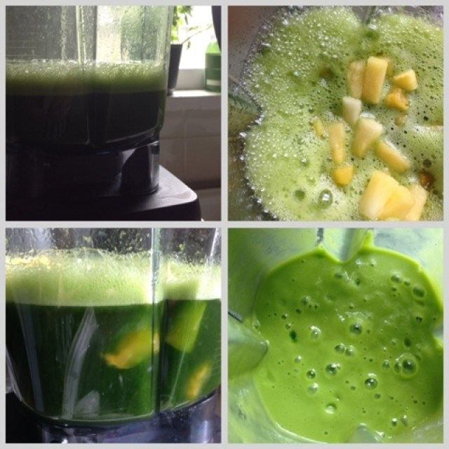 Blending ingredients together for a green smoothie